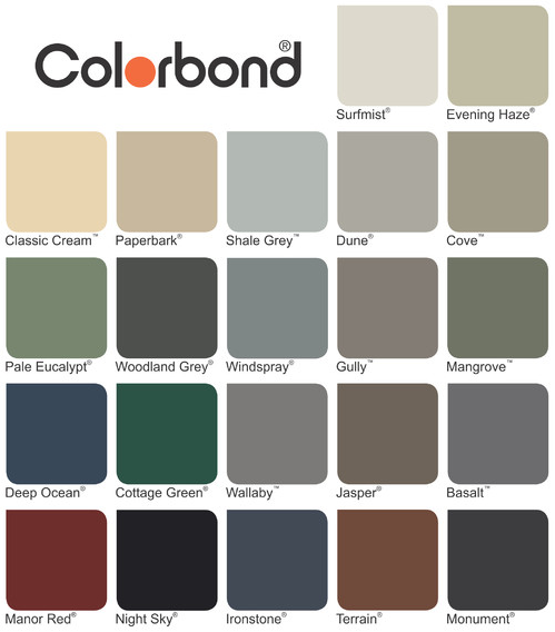 Colourbond Colour Chart