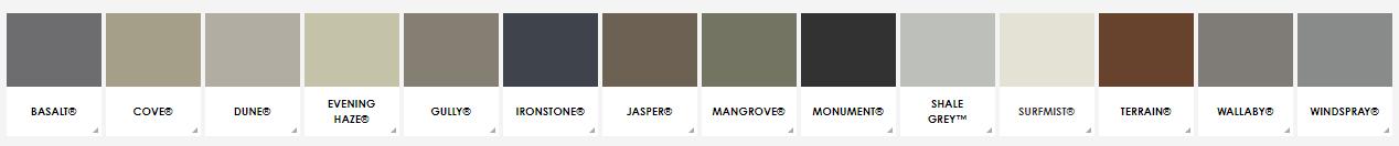 Colourbond Colour Chart
